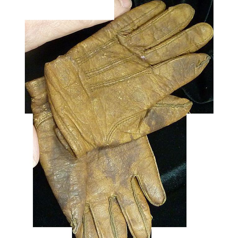 Vintage Brown Leather Child's Gloves