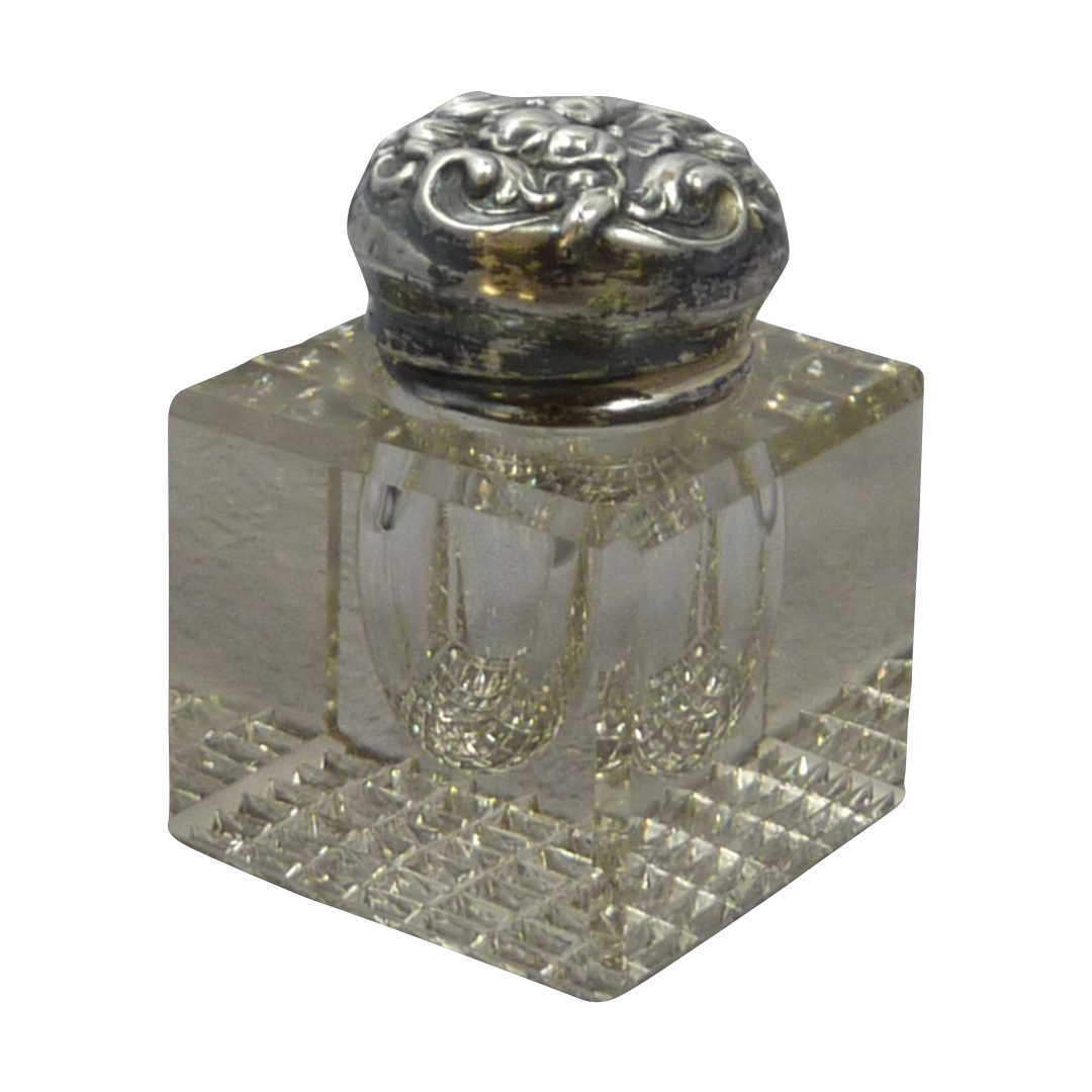 Decorative Ink Glass Jar with Repousse Silver Plate Top