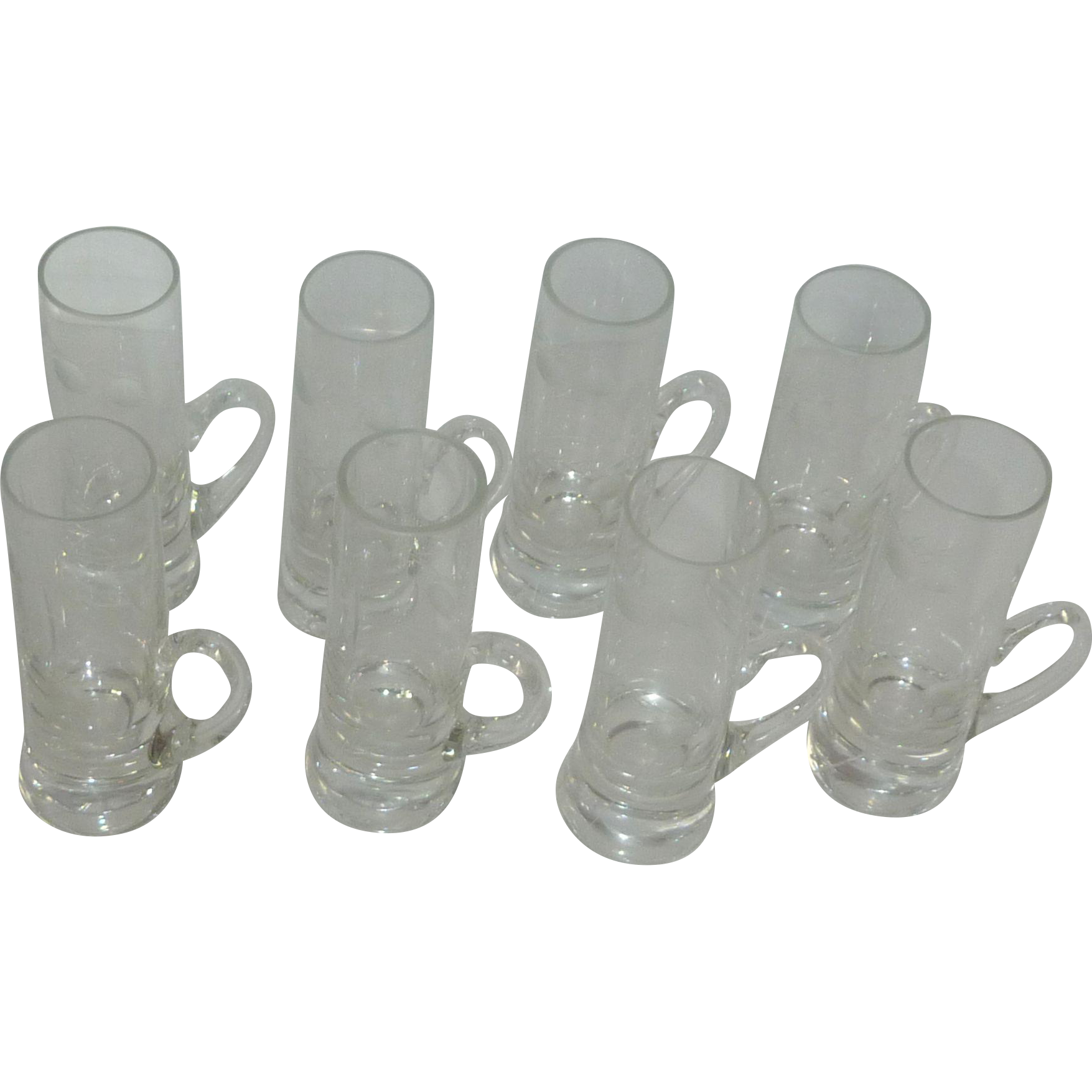 Thistle Etched Handled Cordial Liqueur Glasses