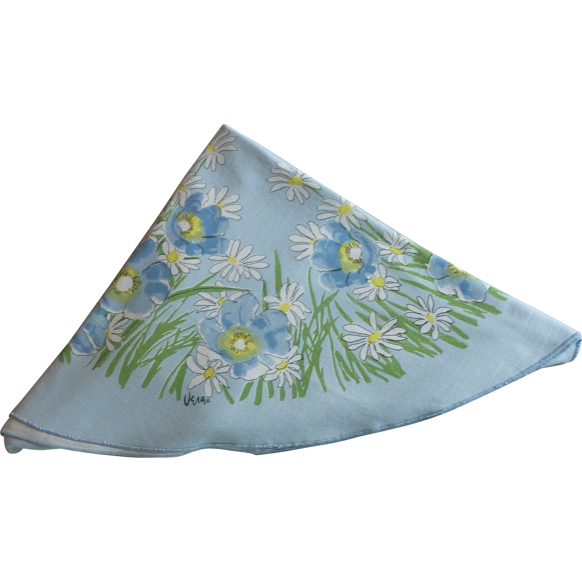 Vera Light Blue Oblong Tablecloth with Daisies and Poppies
