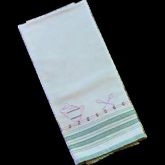 1950 Tea / Cup Towel Off White Cotton