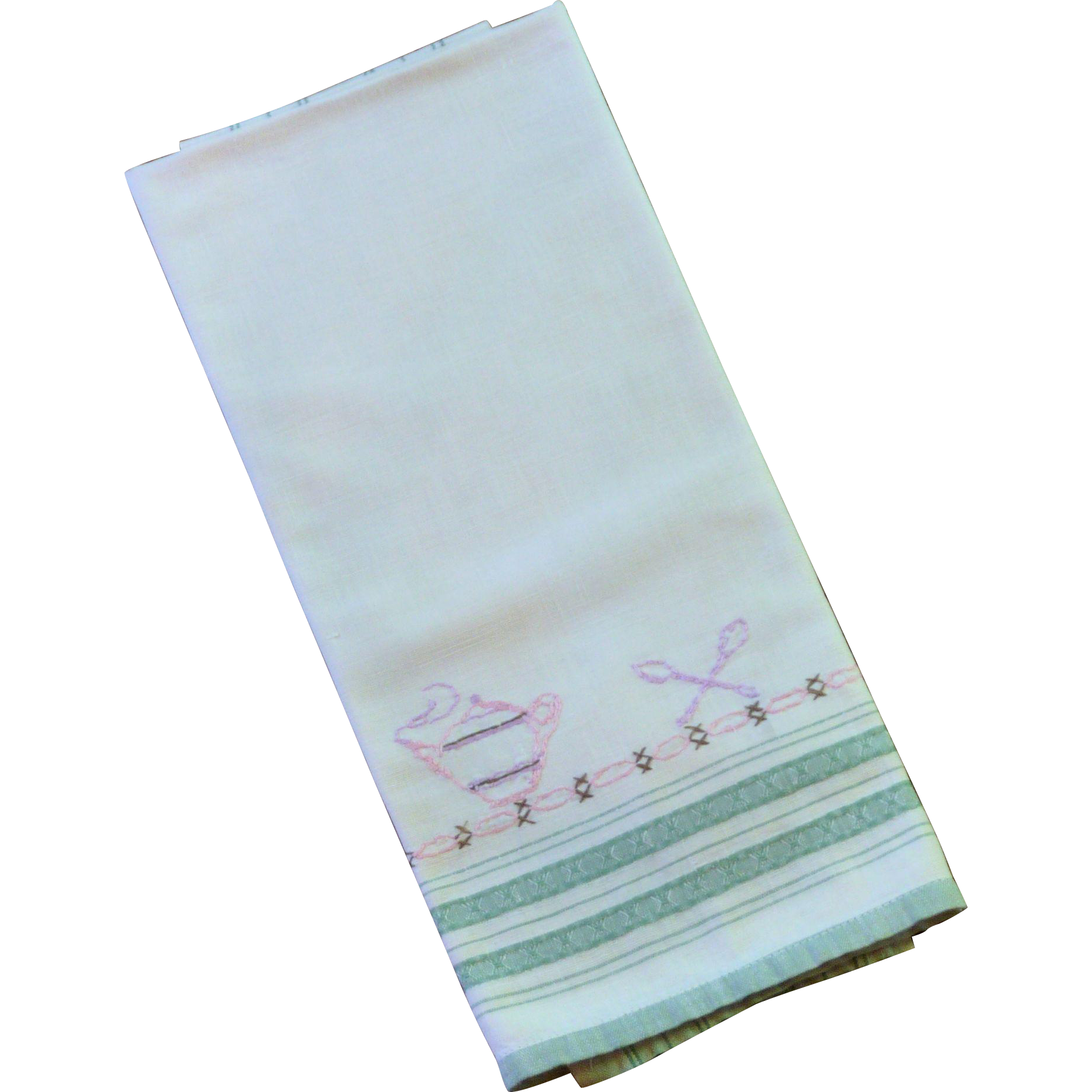 1950 Tea / Cup Towel Off White Cotton