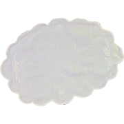 White Cotton Satin Stich Doily