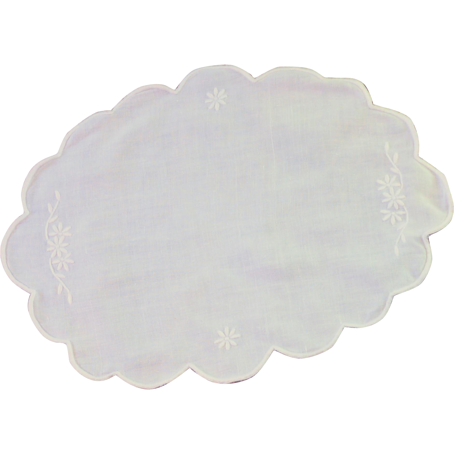 White Cotton Satin Stich Doily