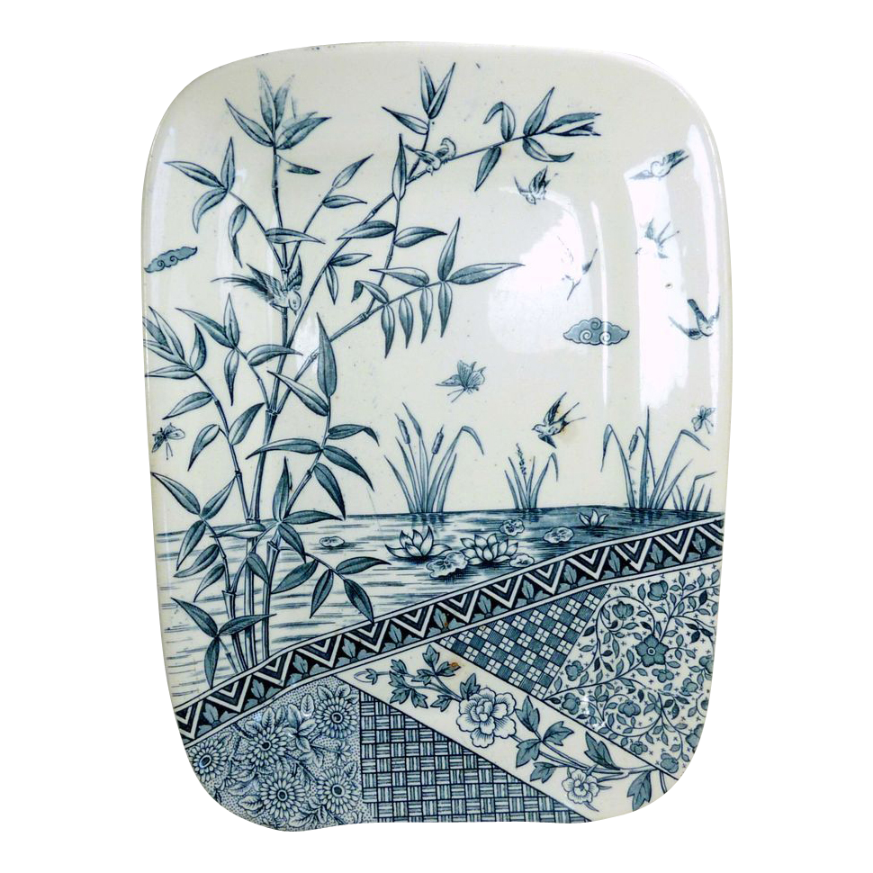 Heavy Blue  Ironstone Transferware Rectangular Platter