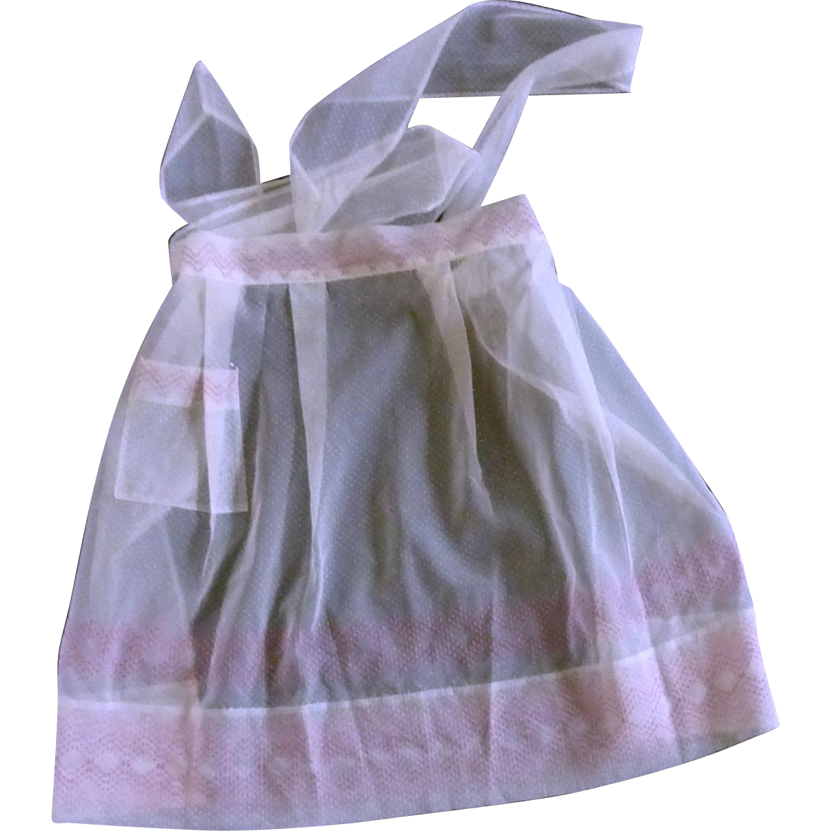 1950 Mid-Century White Dotted Swiss Half Apron