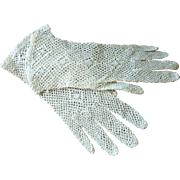 Unlined Ecru Fish Net Gloves 1950's