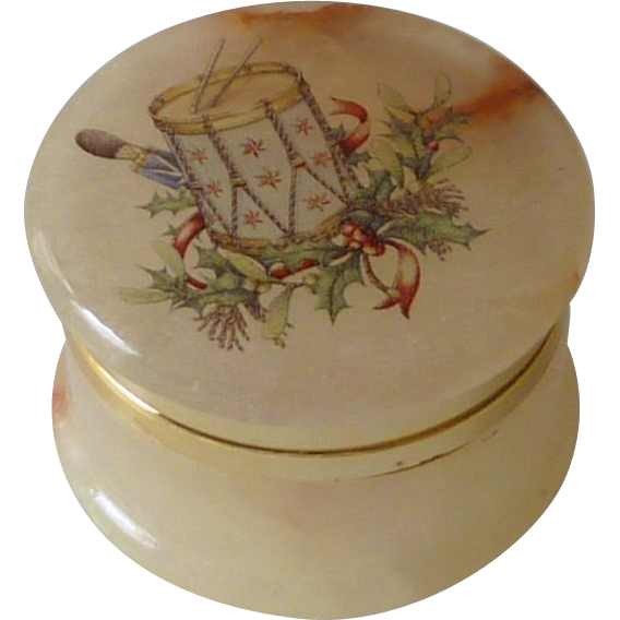 Small Alabaster Stone Hinged Lid Box Made in Italy