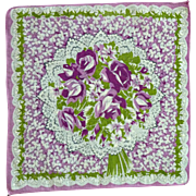 Purple Roses and Flowers Handkerchief Hanky
