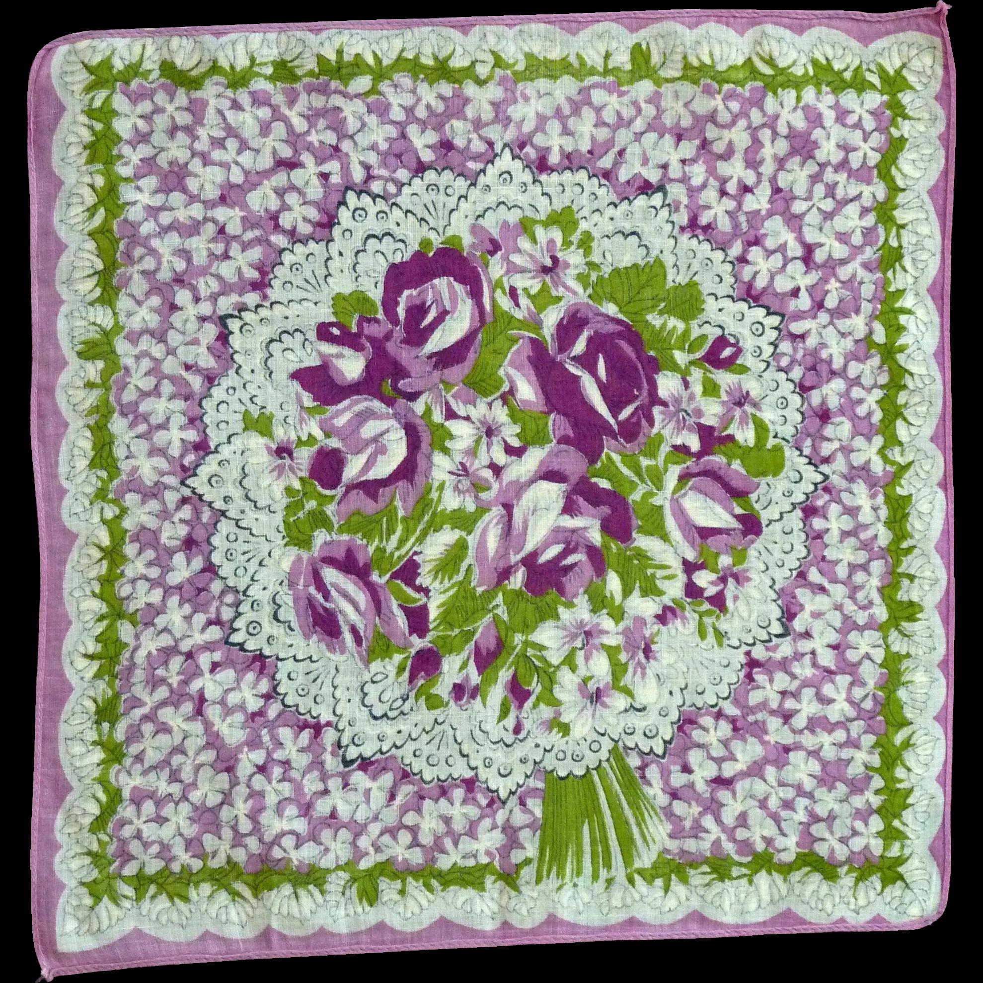 Purple Roses and Flowers Handkerchief Hanky