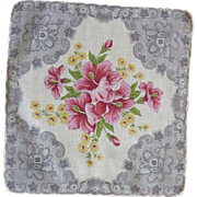 Beautiful Pink Bouquet Flowers with Grey Lace Print Handkerchief
