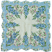 Blue Larkspur Flower Handkerchief Hanky