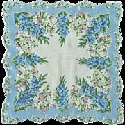 Blue Larkspur Flower Handkerchief Hanky