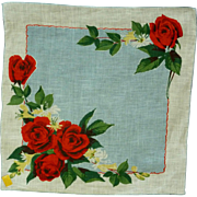 Beautiful Red Roses on Linen Handkerchief Hanky