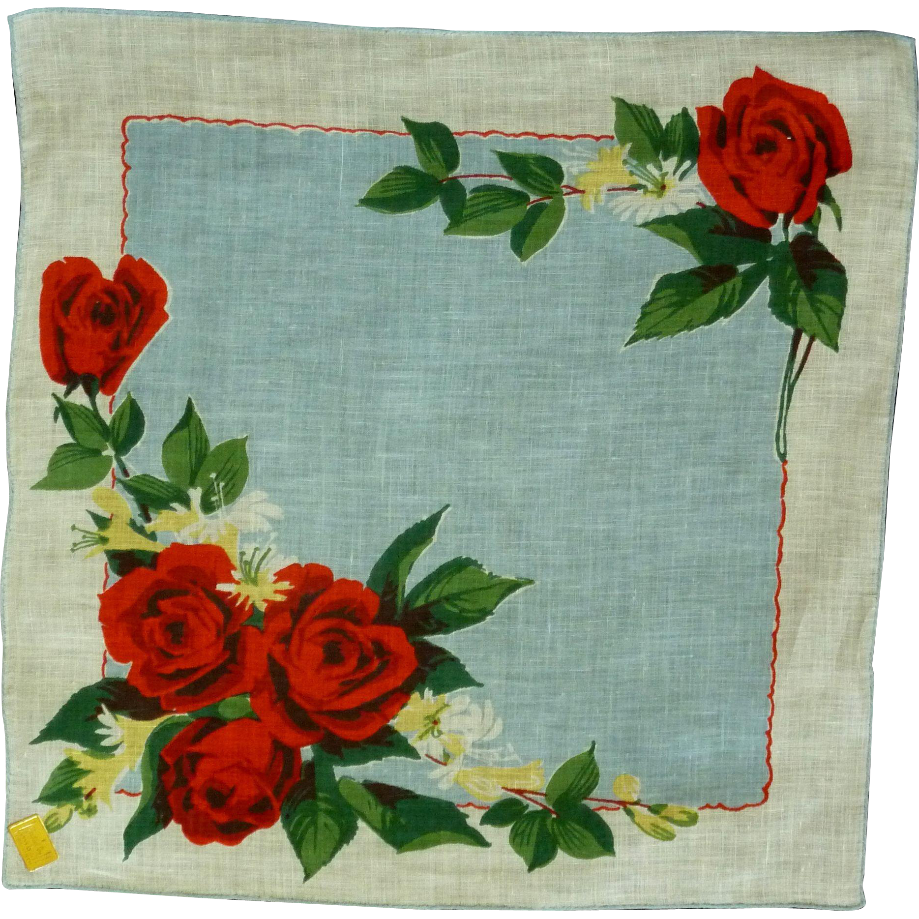Beautiful Red Roses on Linen Handkerchief Hanky