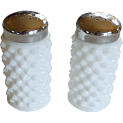 Vintage Fenton Hobnail White Milk Glass Salt and Pepper Shakers