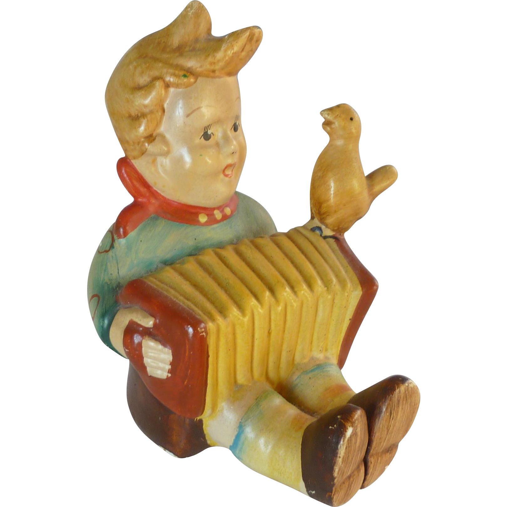 Chalk Ware Boy with Accordion 1950's