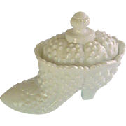 Milk Glass Fenton White Hobnail Shoe jar with Lid