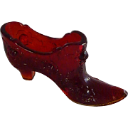 Fenton Rose Pattern Ruby Red Glass Slipper Shoe