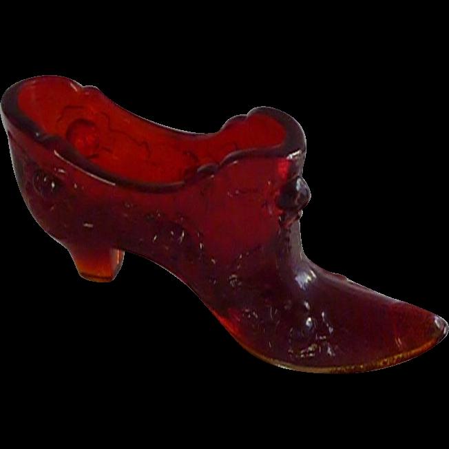 Fenton Rose Pattern Ruby Red Glass Slipper Shoe