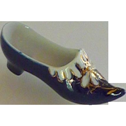 Cobalt Blue Asian Porcelain Shoe Slipper with Dragonfly