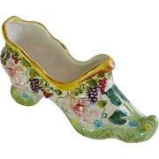 Hand Painted Majolica Like Ceramic Shoe Slipper