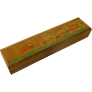 Wood Pencil Box Inlay Train Picture