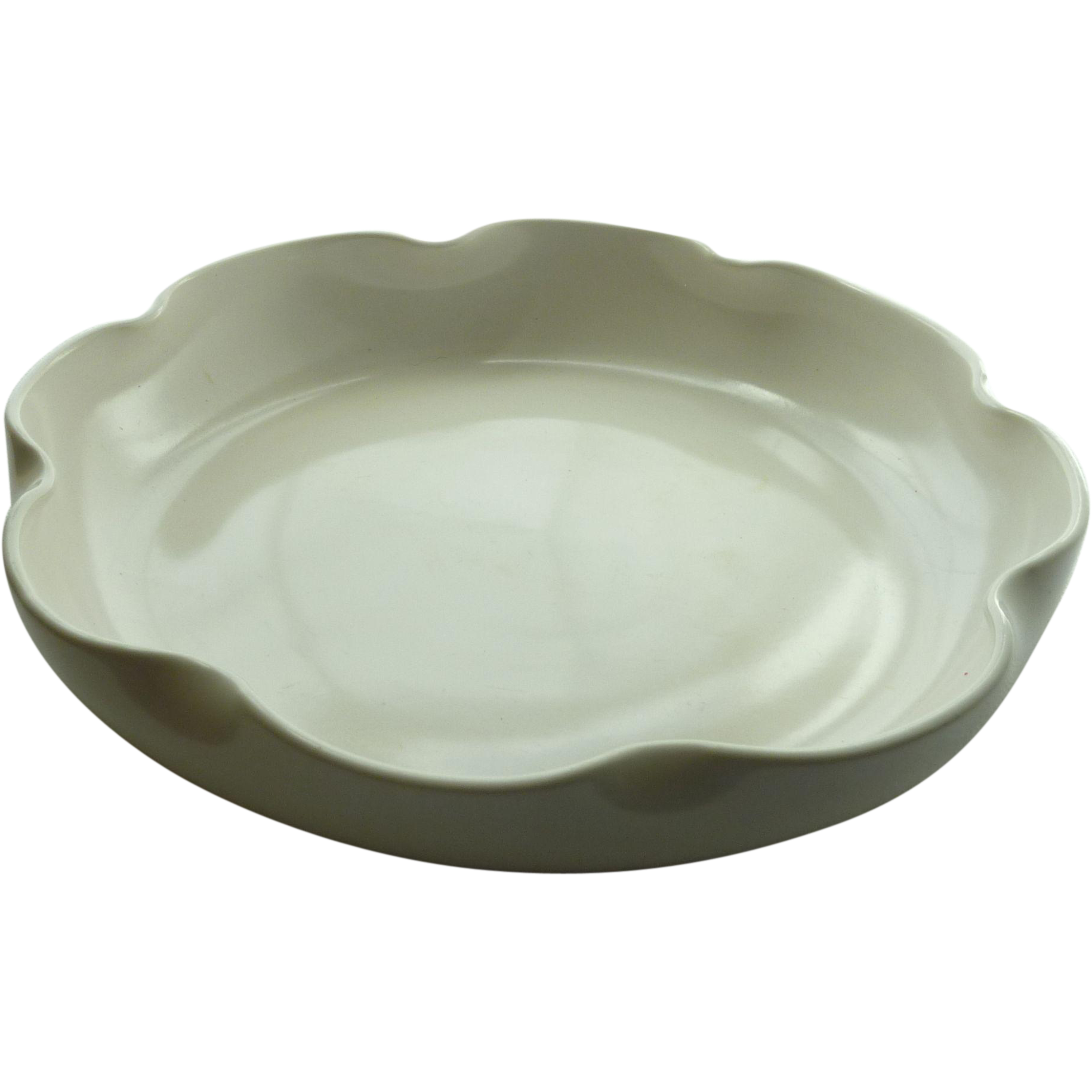 Crème White California Art Pottery Shallow Bowl S-50