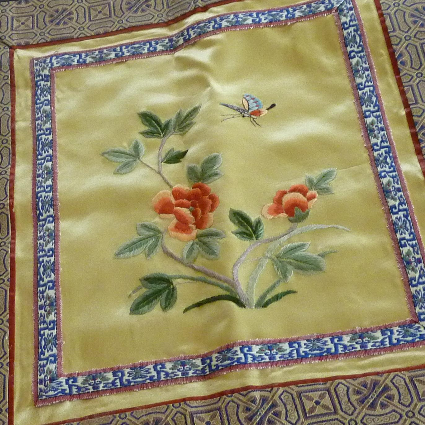 Beautiful small chinese silk embroidered fabric panel from