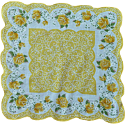 Yellow Roses and White Scalloped Cotton Handkerchief