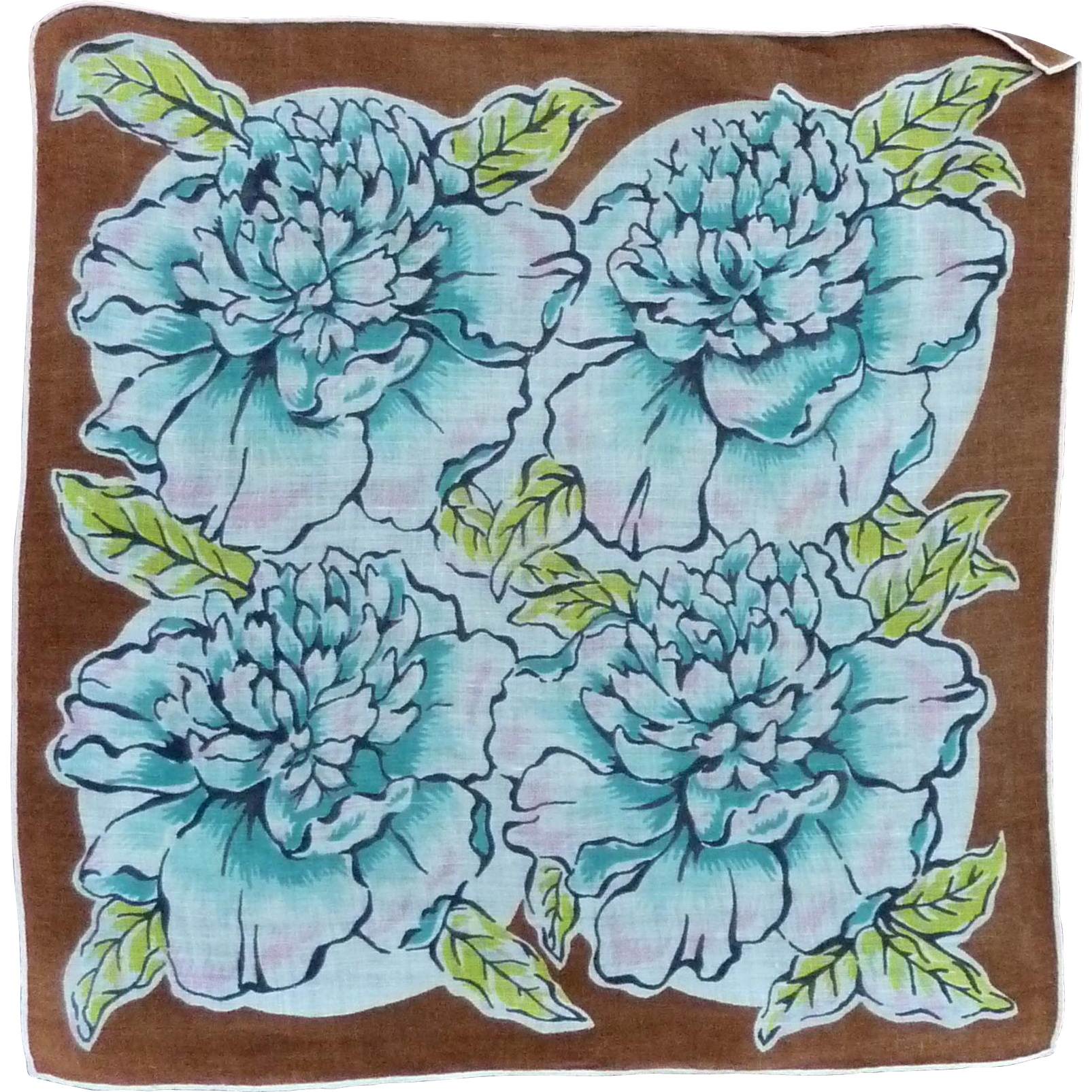 Beautiful Aqua Blue Flowers on Brown Cotton Handkerchief