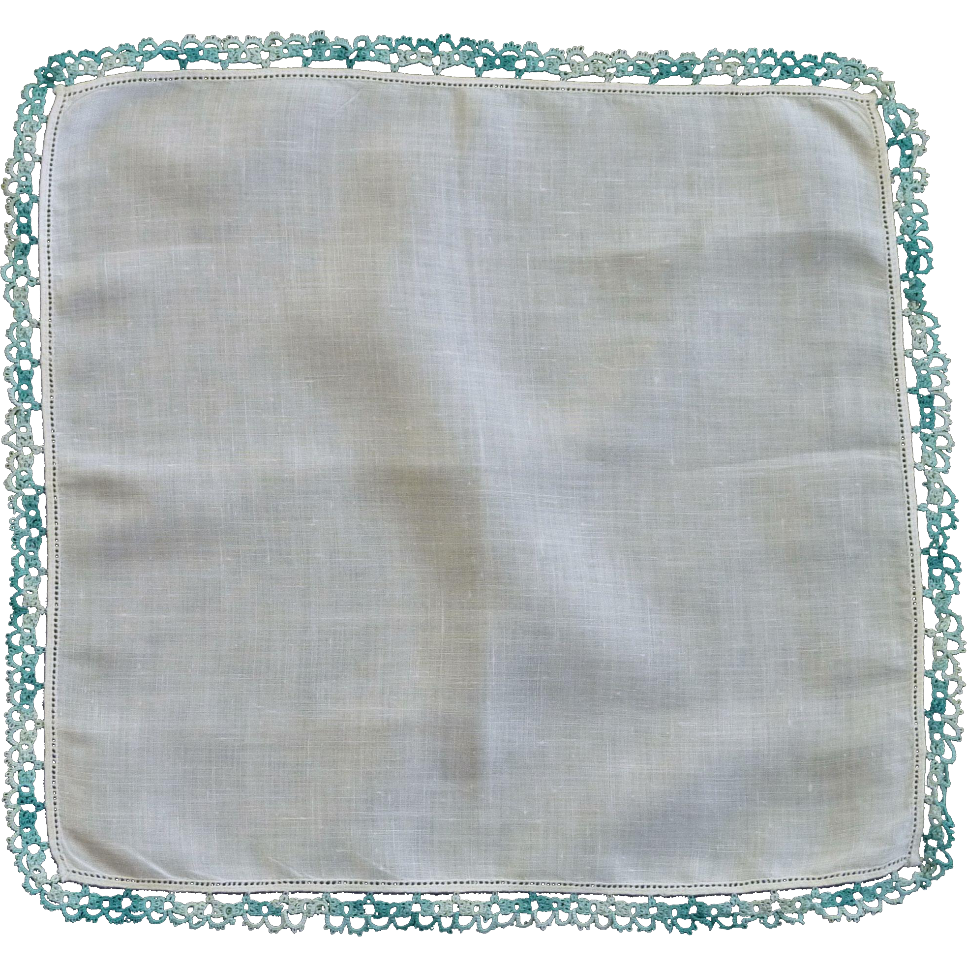 Aqua Teal Tatted Border on White Linen Handkerchief