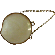 Vintage Real Sea Shell White  Purse Sewing Kit Receptacle