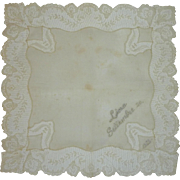 Ecru White Linen 1952 Wedding Handkerchief