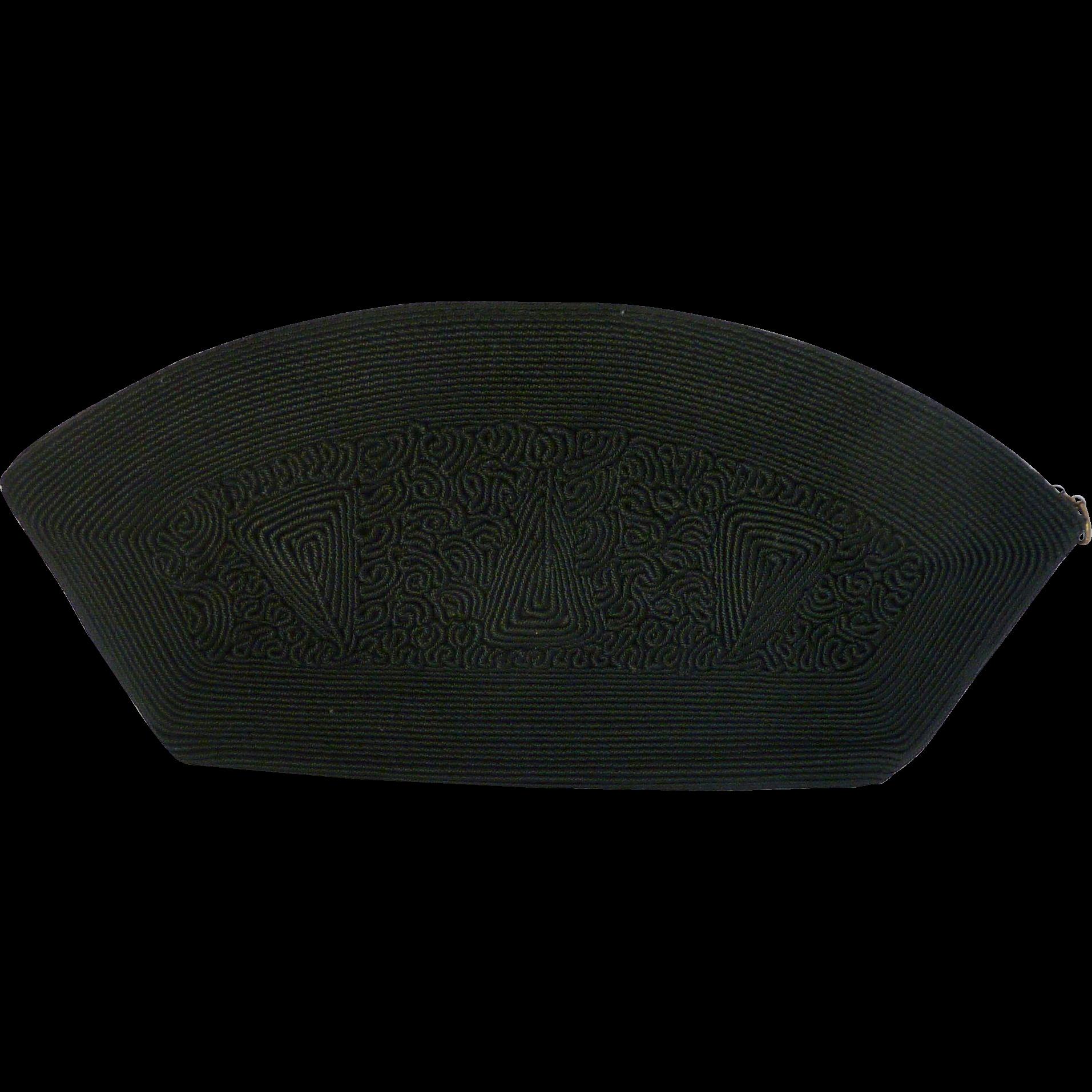 Black 1940's Corde Clutch Handbag