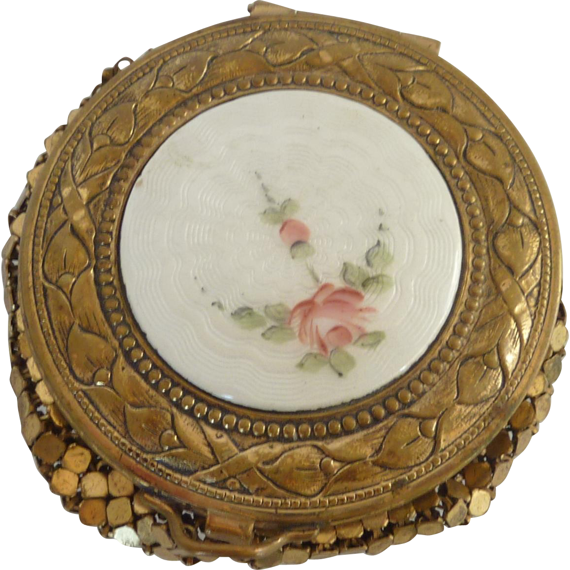 Guilloche Mirrored Compact with Gold Tone Mesh