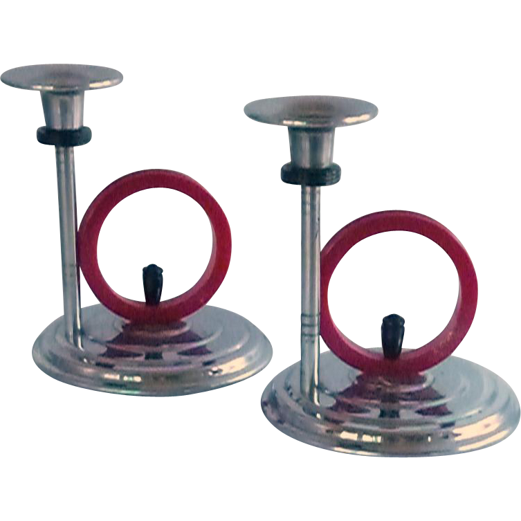 Art Deco Chrome Candlestick Holders Red Bakelite