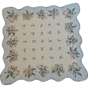 Sweet Blue & Pink Flowered Scallop Handkerchief