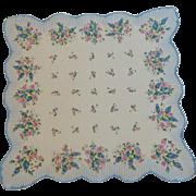 Sweet Blue & Pink Flowered Scallop Handkerchief