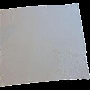 Appliqued White Flowers  on White Handkerchief
