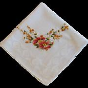 Orange Embroidery on White Linen Vintage Handkerchief