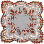 Sheer Autumn Leaves Scalloped Autumn Handkerchief