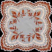 Sheer Autumn Leaves Scalloped Autumn Handkerchief