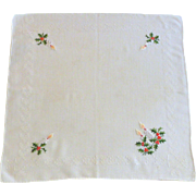 Christmas White Handkerchief with Candles and Holly