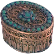 Ornate Small Brass Trinket Box with Turquoise Glass Stones