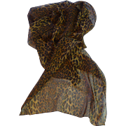 Leopard Print Long Chiffon Scarf