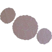 Three Cut Work Pink Flower Doily  Doilies Dresser Table Set