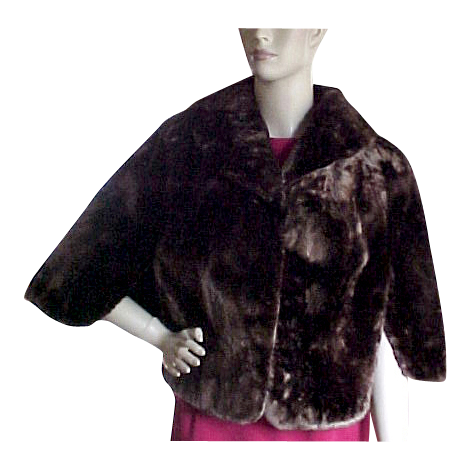 Mouton Sheep Fur 1950's Stole / Cape Jacket