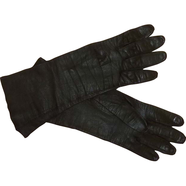 Classic Mid Century Kid Leather Black Gloves