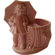 Pink Morton Salt Girl Pottery Planter 1950's